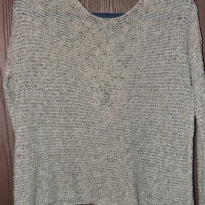 Women's grey crop knit sweat with crochet backing